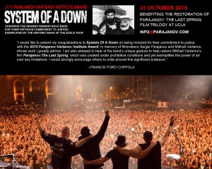 Francis Ford Coppola congratulates System Of A Down