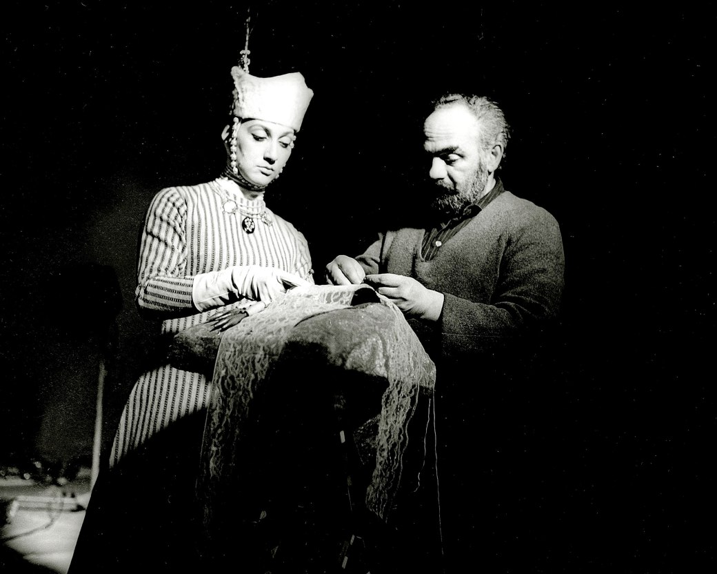 PARAJANOV.com - Sergei Parajanov and Sofiko Chiaureli on the set of The Color of Pomegranates